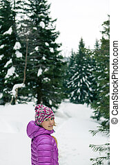 marche, femme, hiver, neigeux, piste, forêt