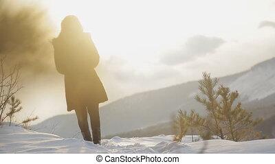 marche, femme, naturel, hiver, jeune, forêt, glacial, paysage