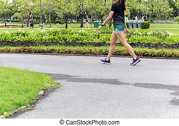 marche, femme, parc, asiatique, jambes, summer., exercice