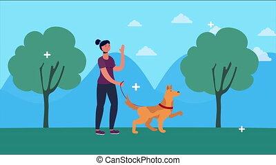 marche, femme, parc, chien