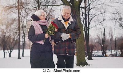 marche, femme, personnes agées, snow., couple, heureux, smeling, parc, roses rouges, couvert