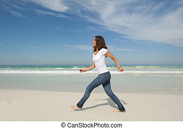 marche, femme, plage, joli, exercice