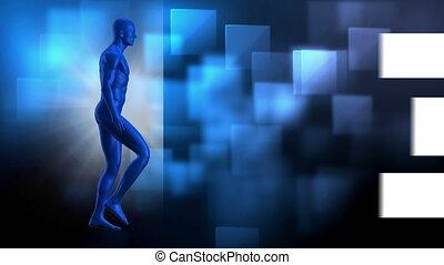 marche, fond, flèche, numérique, animé, homme, bleu