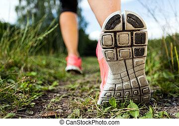 marche, forêt, exercisme, courant, aventure, jambes, ou