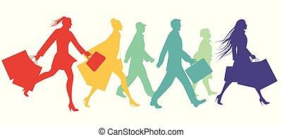 marche, gens, illustration, silhouettes, vecteur, rue.