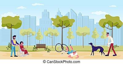 marche, gens, parc, été