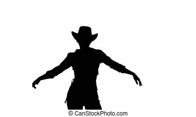 marche., girl, silhouette, danses, cow-boy