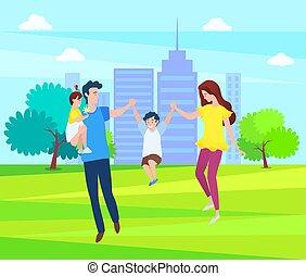 marche, gosses, famille, père, ensemble, mère