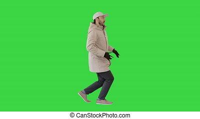 marche, hip-hop, homme, rap, gestes, chant, confection, écran, chroma, vert, key.