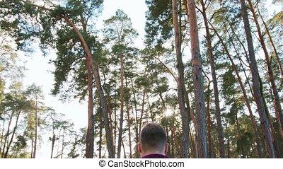 marche, homme, jeune, forêt
