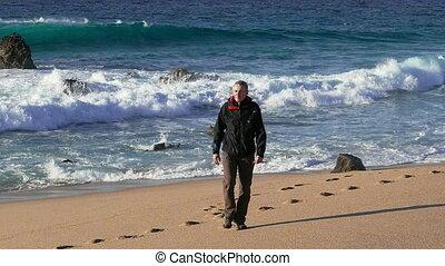 marche, homme, plage, fond, vagues