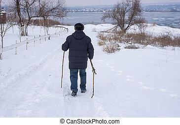 marche, homme, route, mûrir, neigeux