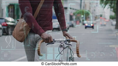 marche, homme, sur, ville, traitement, vélo, animation, américain, africaine, monde médical, données