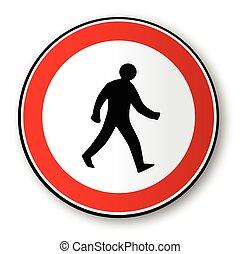 marche, homme, trafic, panneaux signalisations