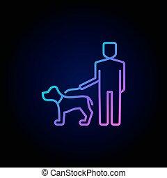 marche, icône, chien, homme