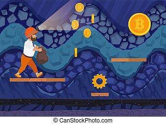 marche, illustration., style, côté, mine., sac, jeu, vecteur, homme, vue, dessin animé, bitcoins
