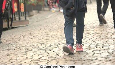 marche, jambes, gens