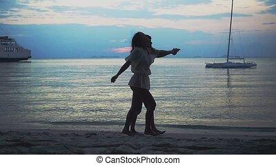 marche, lent, couple, motion., exotique, long, plage, 1920x1080, sunset.