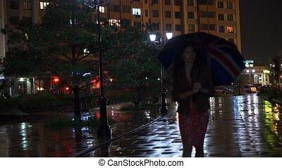 marche, lent, parapluie, union, pluvieux, mouvement, vidéo, cric, girl, nuit