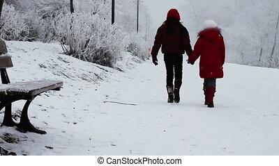 marche, neige, enfants