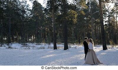 marche, neigeux, accouplez dehors, jeune, forêt pin, mariage, hiver
