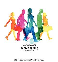 marche, occupé, aquarelle, gens