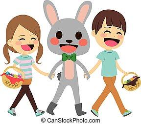 marche, paques, enfants, lapin