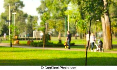 marche, parc, blur., gens
