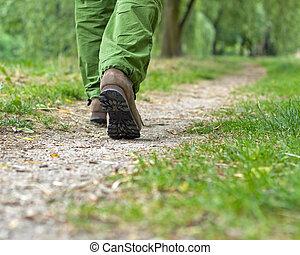 marche, parc, exercice, homme