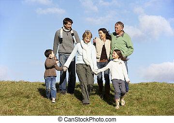 marche, parc, famille