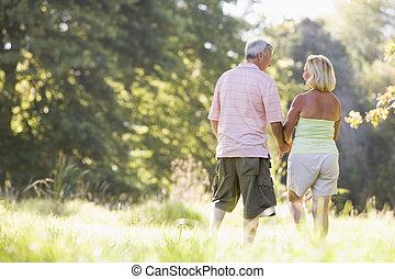 marche, parc, mains tenue couple