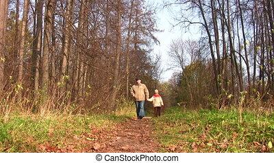 marche, parc, personne agee, enfant