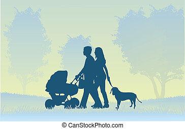 marche, parents, enfant