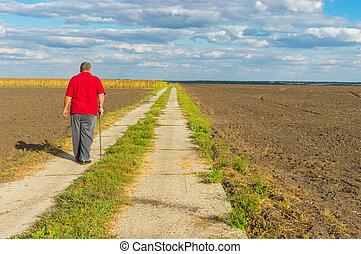 marche, pays, béton, crosse, route, homme
