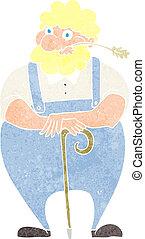 marche, penchant, crosse, dessin animé, paysan