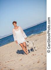 marche, plage, chien