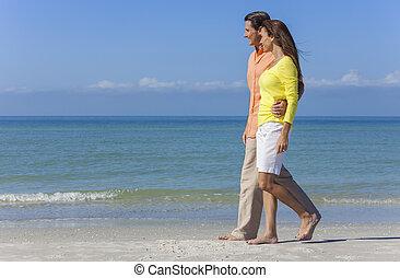 marche, plage, couple, vide