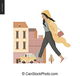 marche, porter, pluie, imperméable, girl, -