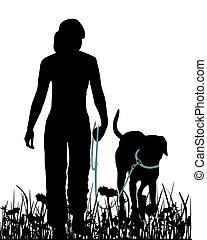marche, pré, chien