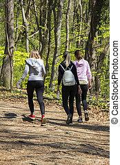 marche, printemps, filles, trois, jeune, forêt