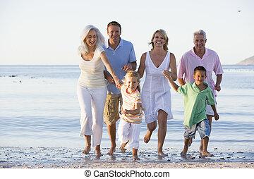 marche, prolongé, plage, famille