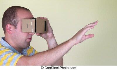 marche, réalité virtuelle, vr, homme, en avant!, carton, lunettes