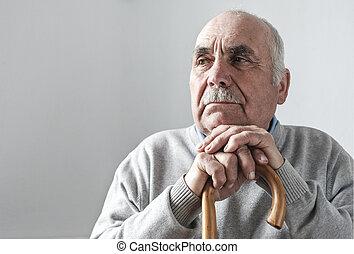 marche, retiré, chevelure, gris, personnes agées, homme bâton