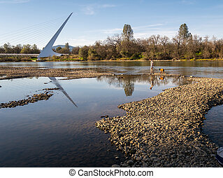 marche, rivière, californie, pont, cadran solaire