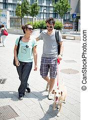 marche, rue, couple, chien