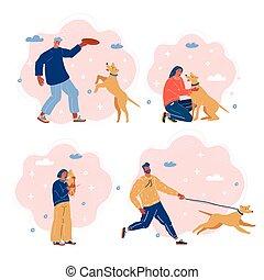 marche, running., pla, gens, illustration, dogs., vecteur, étreindre, ing