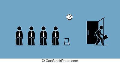 marche, salle, candidat, métier, door., dehors, attente, candidats, entrevue, par