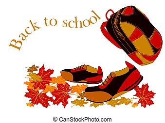 marche, school., feuilles, dos, bottes, automne