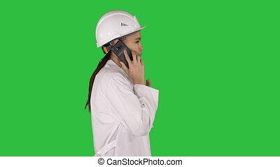 marche, science, chroma, écran, quoique, vert, key., femme, faisant option achat, ingénieur