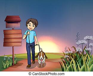 marche, sien, chien, homme